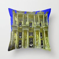 old school Throw Pillows featuring Old School by Nicholas Bremner - Autotelic Art