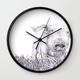 Playing In The Grass Wall Clock