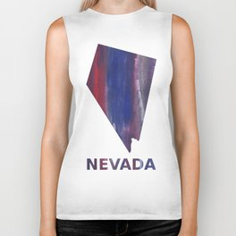 Nevada map outline Red Blue nebulous watercolor Biker Tank