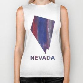 Nevada map outline Red Blue nebulous watercolor Biker Tank