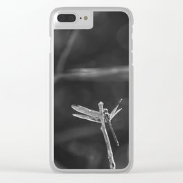 Dragon Fly in Black and White Clear iPhone Case