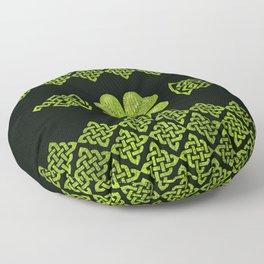 Irish Shamrock Four-leaf clover with celtic decor Floor Pillow