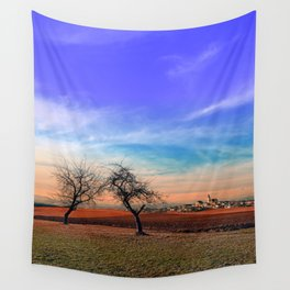 Trees, sunset, clouds, panorama and village | landscape photography Wall Tapestry