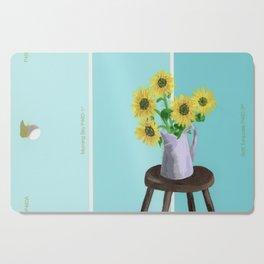 Sunflowers on Blues Cutting Board