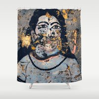 hindu Shower Curtains featuring Hindu mural by Rick Onorato