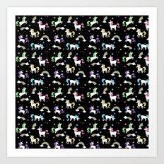 Unicorns and Rainbows - black -tiny Art Print