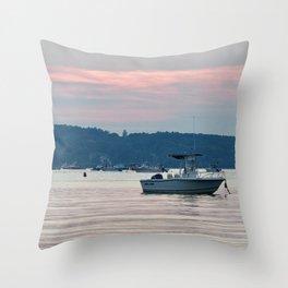 Boating at Dusk Throw Pillow