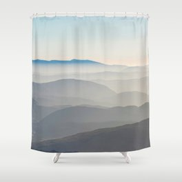 Foggy Mountains in the Distance (Color) Shower Curtain