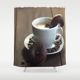 Fresh Coffee with donuts Shower Curtain