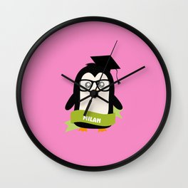 Penguin nerd from Milan T-Shirt for all Ages Wall Clock