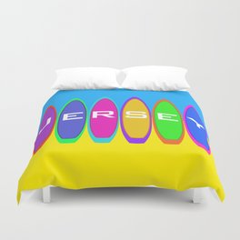 Jersey Surfboards on the Beach Duvet Cover