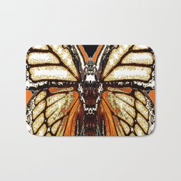 RIBBED WHITE BROWN & BLACK BUTTERFLY WING VEINS Bath Mat