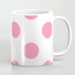 Large Polka Dots - Flamingo Pink on White Coffee Mug