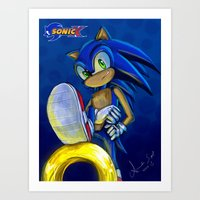 sonic Art Prints featuring Sonic by amanda.scopel