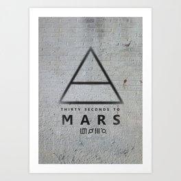 30 Seconds to Mars - stencil on brick wall Art Print