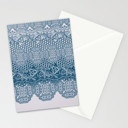lace border with floral and geo in teal Stationery Cards