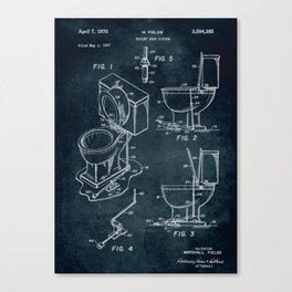 1967 - Toilet seat lifter patent art Canvas Print