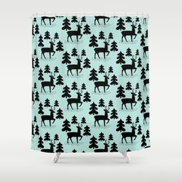 Deer In The Forest Blue Pattern Shower Curtain