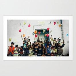 Group photograph Indian children Art Print