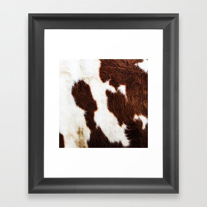 Cowhide Brown Spots Gerahmter Kunstdruck