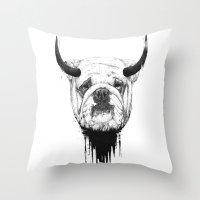 bulldog Throw Pillows featuring Bulldog by Balazs Solti