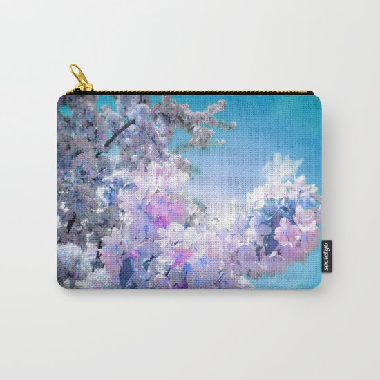 Lavender Teal Flowers Aqua Sky Carry-All Pouch