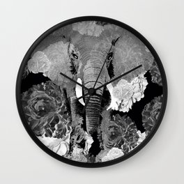 ELEPHANT AND CABBAGE ROSES IN BLACK AND WHITE Wall Clock