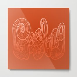 Geelong Typography - Orange Metal Print