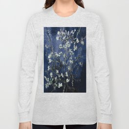 Vincent Van Gogh Almond Blossoms Dark Blue Long Sleeve T-shirt