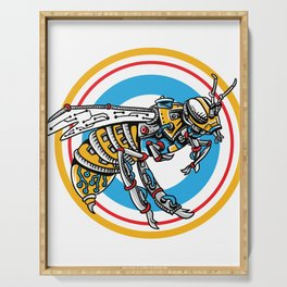 Robot Bee Shirt Beekepers And Honey Lovers Gift Serving Tray