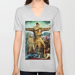 Classical Abolitionist Masterpiece by John Steuart Curry - Tragic Prelude  - John Brown. Unisex V-Neck