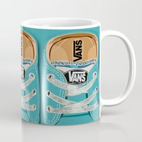 vans Mugs featuring Cute blue teal Vans all star baby shoes iPhone 4 4s 5 5s 5c, ipod, ipad, pillow case and tshirt by Three Second