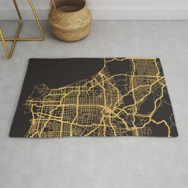 LOS ANGELES CALIFORNIA GOLD ON BLACK CITY MAP Rug
