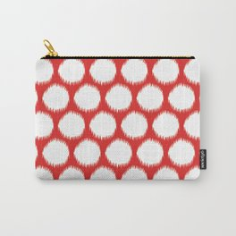 Red Asian Moods Ikat Dots Carry-All Pouch