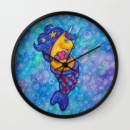 Cute Mermicorn Ocean Doodle Wall Clock