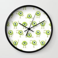 monster inc Wall Clocks featuring Monster's Inc. by Pink Berry Patterns