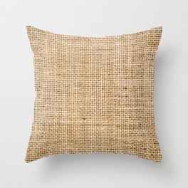 Hessian sackcloth burlap woven texture background, Cotton woven fabric close up with flecks of varying colors of beige and brown, with copy space for text decoration. Throw Pillow