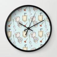 bathroom Wall Clocks featuring Bathroom Pattern by Josh LaFayette
