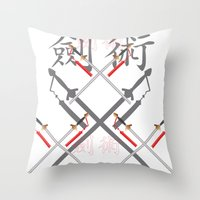 sword Throw Pillows featuring China Sword by Littlebell