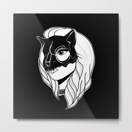 Pretty Girl with a Cat Skull Mask Metal Print
