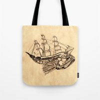 moby dick Tote Bags featuring Moby by Lindsey Caneso