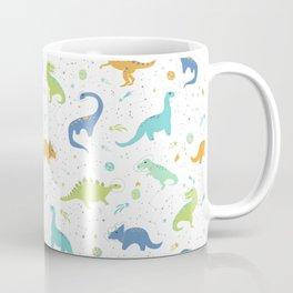 Space Dinosaurs on White (Orange + Blue) Coffee Mug