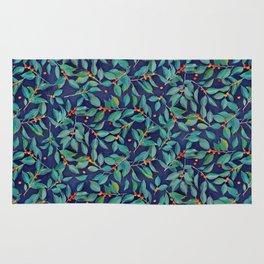 Leaves + Berries in Navy Blue, Teal & Tangerine Rug