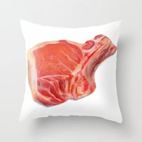 meat Throw Pillows featuring Meat by Adriana de Barros
