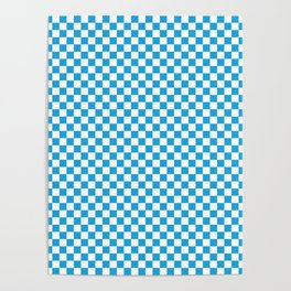 Oktoberfest Bavarian Blue and White Checkerboard Poster