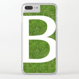B initial letter alphabet on the grass Clear iPhone Case