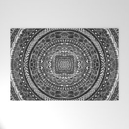 Zentangle Mandala Black and White Welcome Mat