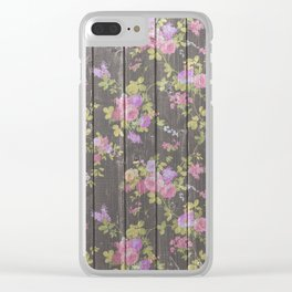 Rustic vintage brown wood pink country chic floral Clear iPhone Case