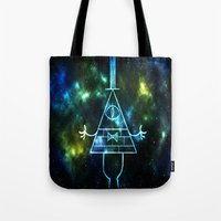 bill cipher Tote Bags featuring Neon Bill Cipher by DoodleCrab