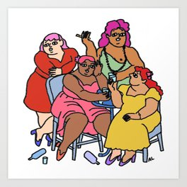 'Four Women' Botero Remake  Art Print
